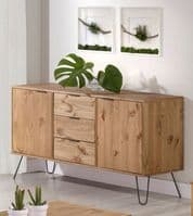 AGUSTIN Pine Sideboard with Black Hairpin Legs